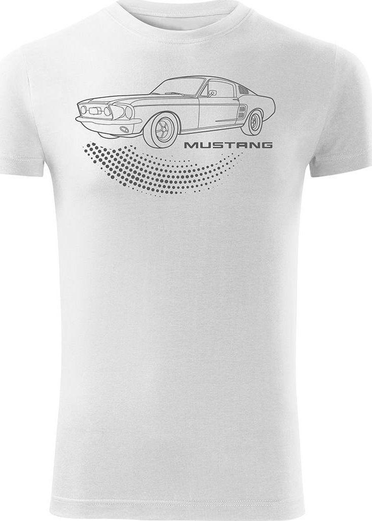 Topslang Koszulka motoryzacyjna z Fordem Mustangiem Ford Mustang męska biała SLIM M 1