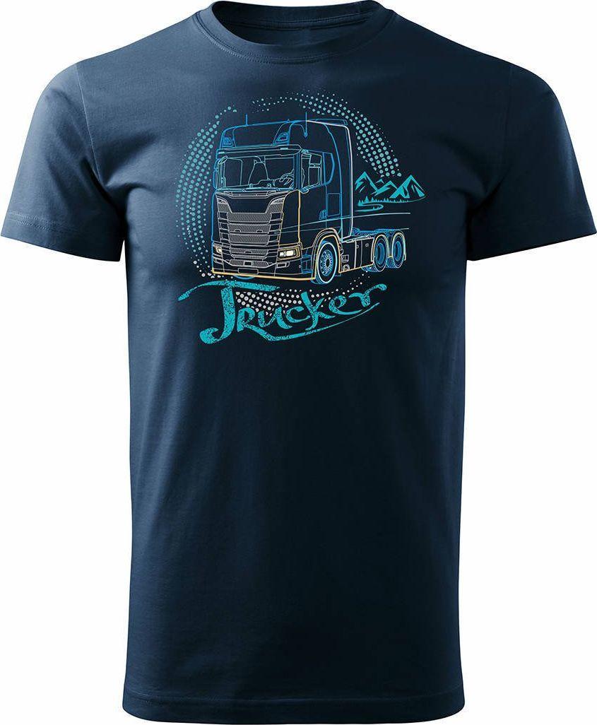 Topslang Koszulka z ciężarówką Scania dla kierowcy Tira męska granatowa REGULAR L 1
