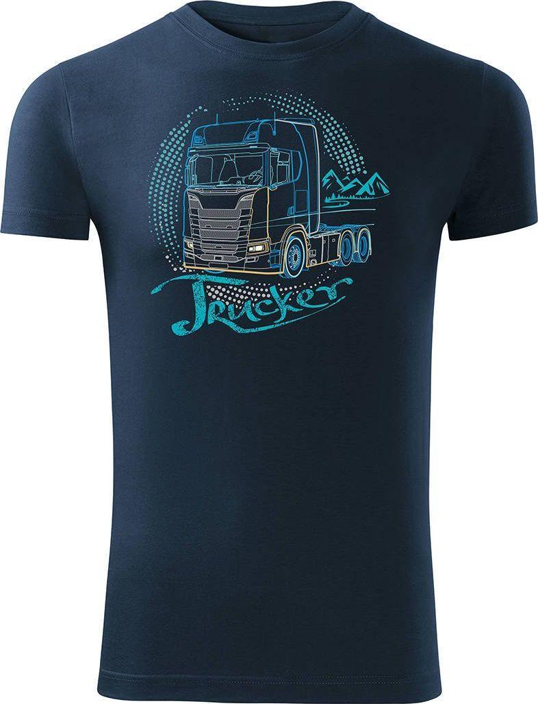 Topslang Koszulka z ciężarówką Scania dla kierowcy Tira męska granatowa SLIM L 1
