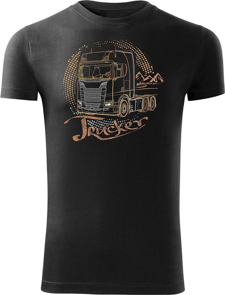Topslang Koszulka z ciężarówką Scania dla kierowcy Tira męska czarna SLIM XL 1