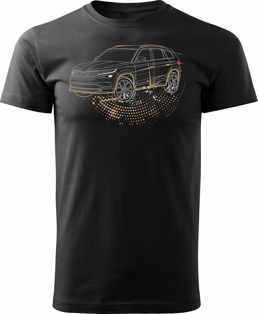 Topslang Koszulka z samochodem SUV Skoda Kodiaq męska czarna REGULAR S 1