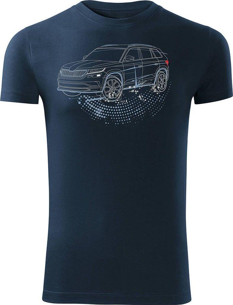 Topslang Koszulka z samochodem SUV Skoda Kodiaq męska granatowa SLIM S 1