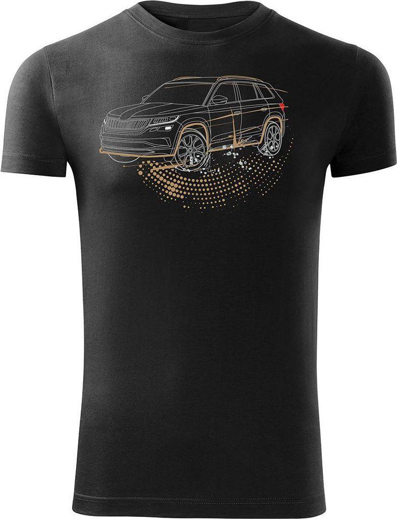 Topslang Koszulka z samochodem SUV Skoda Kodiaq męska czarna SLIM S 1