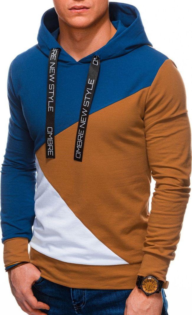 Ombre Bluza męska z kapturem B1050 - ruda/niebieska L 1