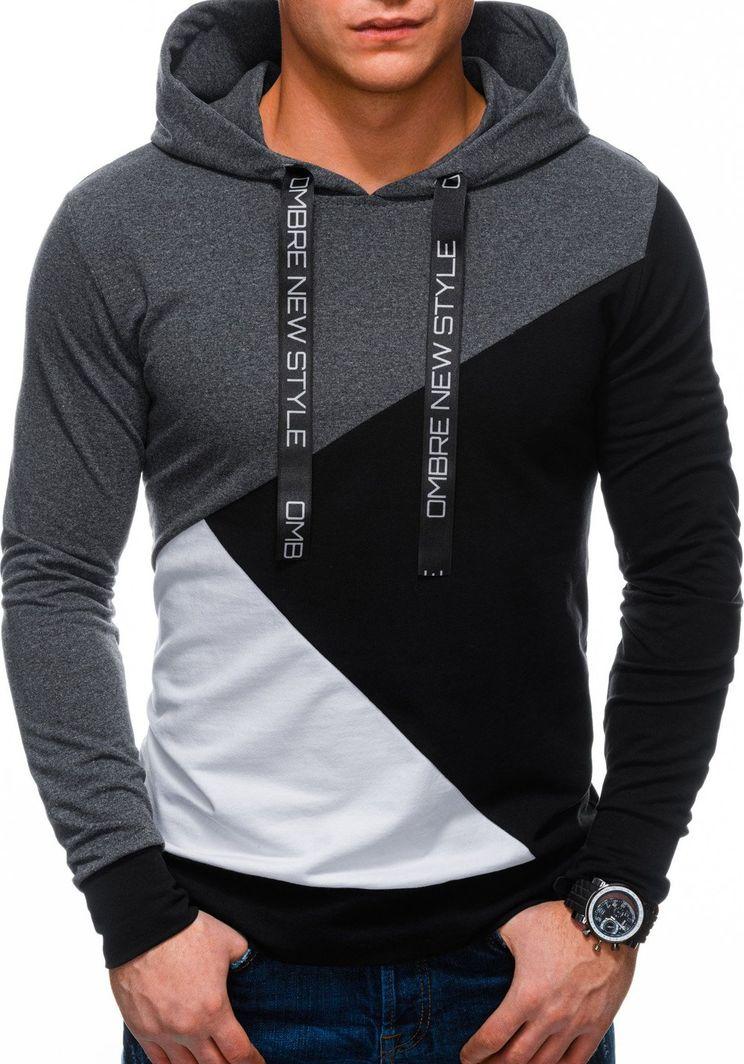Ombre Bluza męska z kapturem B1050 - grafitowa/czarna XL 1
