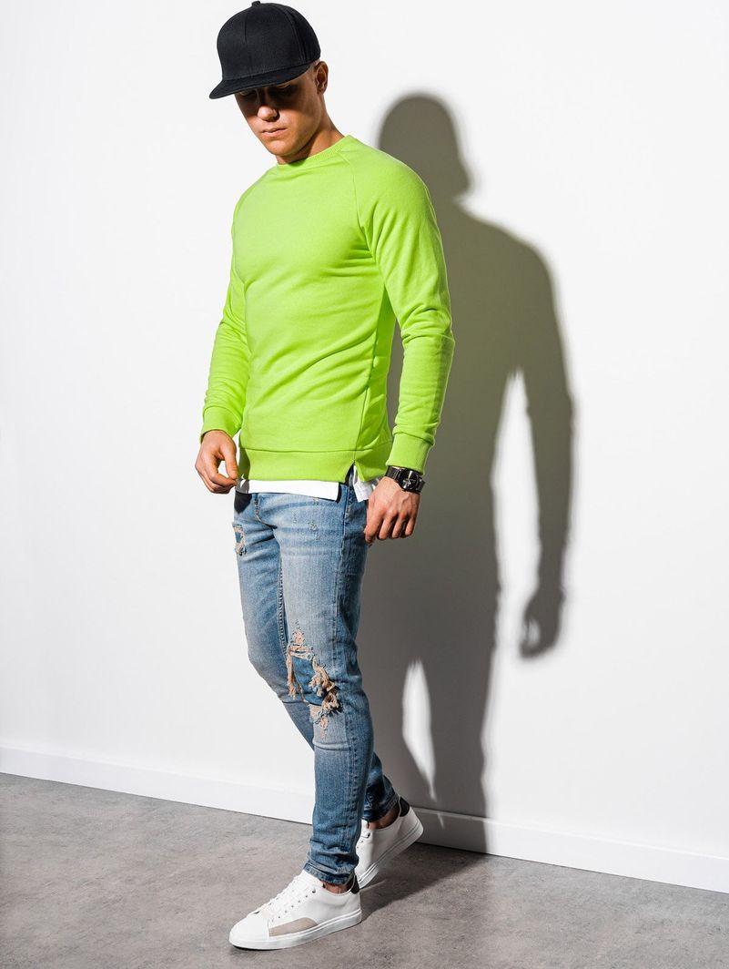 Ombre Bluza męska bez kaptura B1217 - zielona XL 1