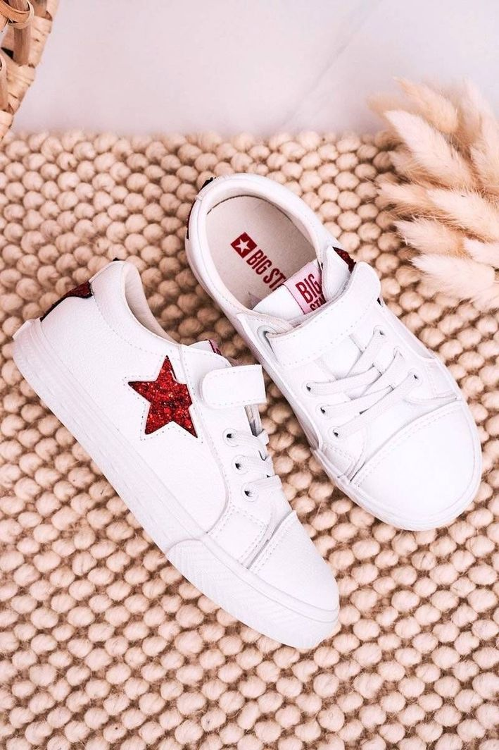 Big Star Dziecięce Skórzane Trampki Z Gwiazdą BIG STAR DD374102 Białe 34 1