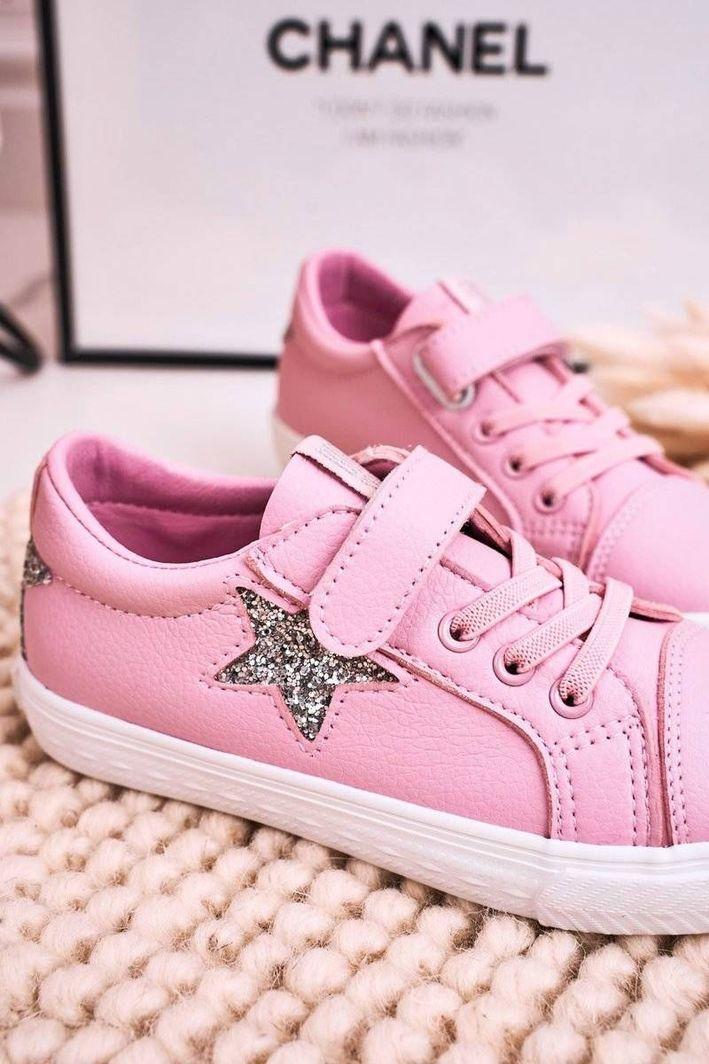 Big Star Dziecięce Skórzane Trampki Z Gwiazdą BIG STAR DD374104 Różowe 34 1