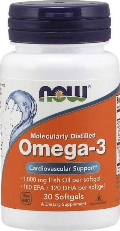 NOW Foods NOW Foods - Omega-3, Molekularnie Destylowany Ojek Rybny, 30 kapsułek miękkich 1