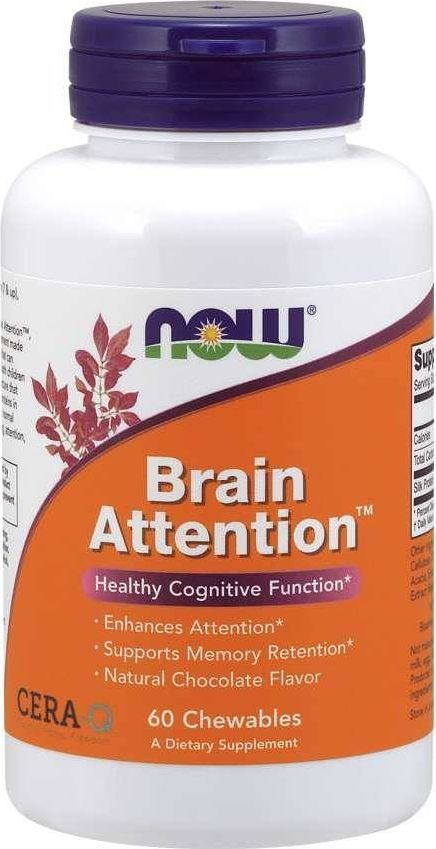NOW Foods NOW Foods - Brain Attention, 60 tabletek do żucia 1