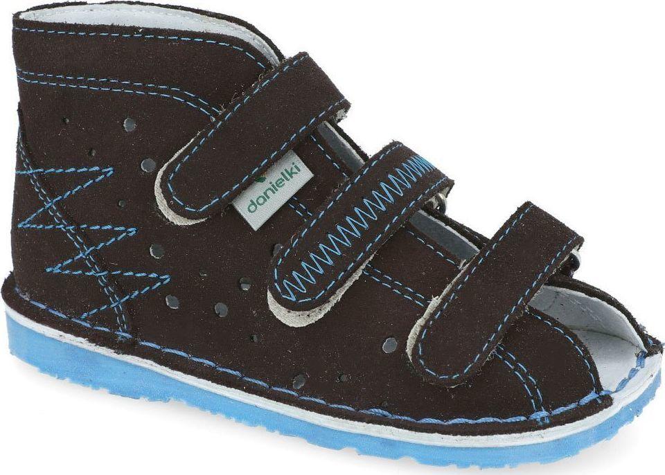 Danielki Kapcie Danielki TA105 profilaktyczne obuwie brązowy + niebieski papcie 18 1