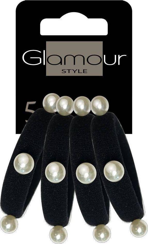 Glamour Glamour gumki Do Włosów Czarne Z Perełkami 4szt 1