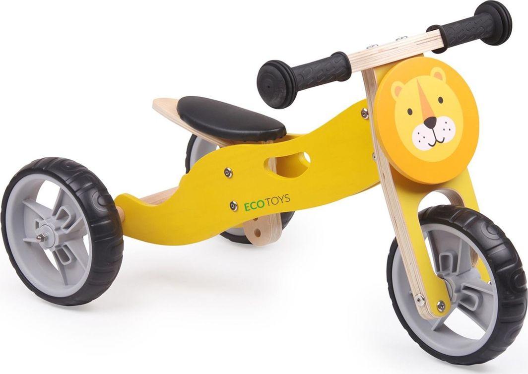 Ecotoys Drewniany rowerek 2w1 balansowy Lew żółty  1