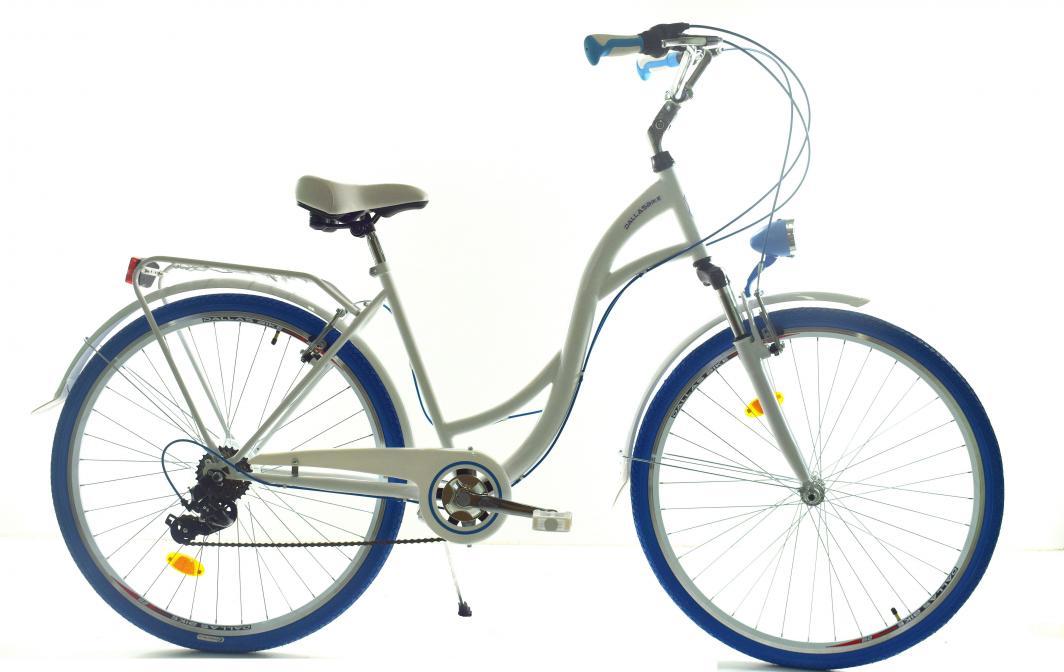 """Dallas Bike Rower miejski 28"""" 7-biegowy biały z niebieskim SPD LUX 1"""