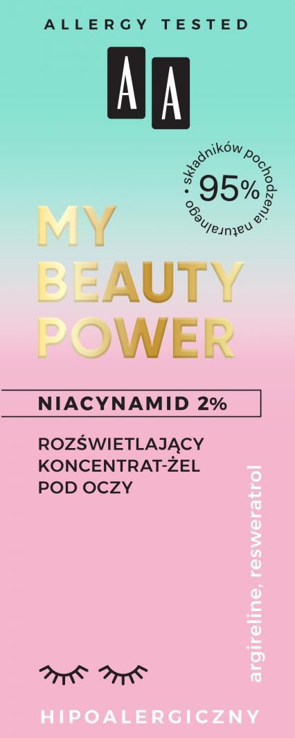 AA My beauty power Niacynamid 2% rozświetlający koncentrat-żel pod oczy 15 ml 1