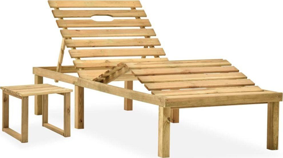 vidaXL Leżak ogrodowy ze stolikiem, impregnowane drewno sosnowe (315397) 1