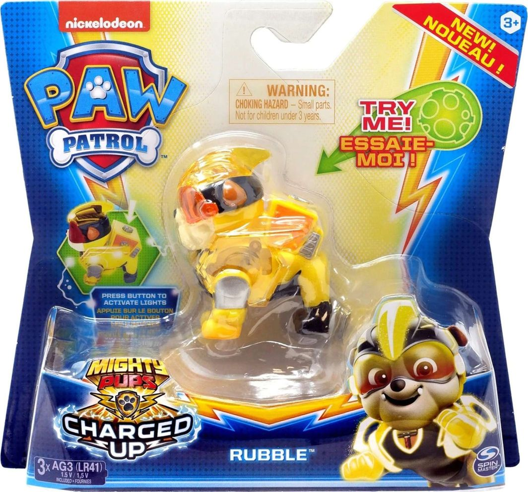 Spin Master Psi Patrol figurka ze światłem Mighty Pups Rubble 1