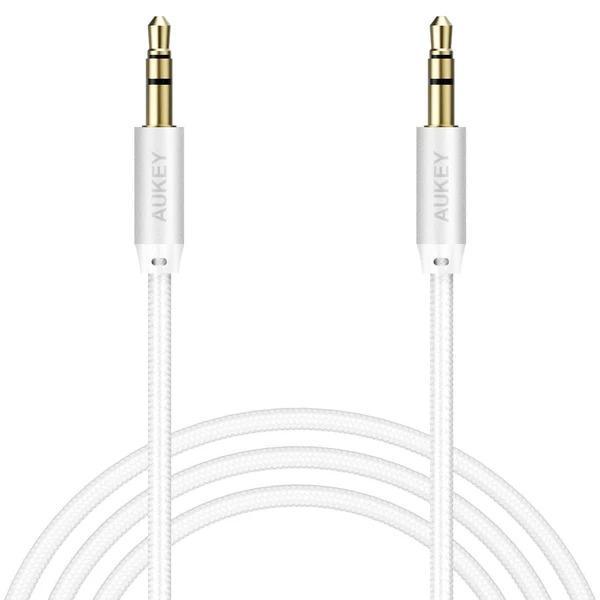 Kabel Aukey Jack 3.5mm - Jack 3.5mm 1.2m biały (CB-V12) 1