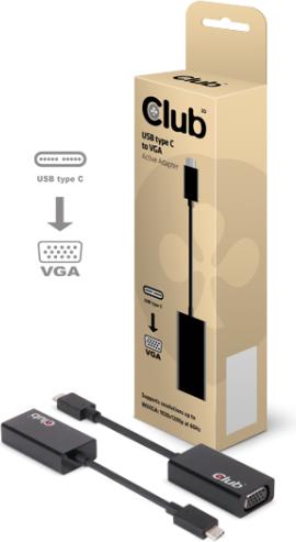 Adapter USB Club 3D USB-C D-Sub (VGA), 0.1m, Czarny (CAC-1502) 1