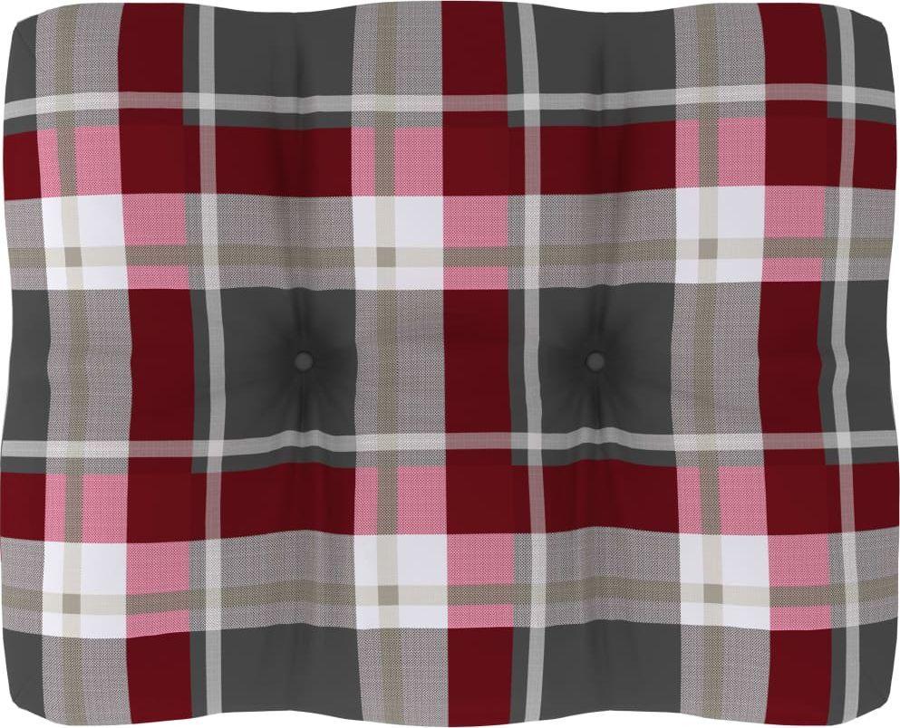 vidaXL Poduszka na sofę z palet, czerwona krata, 50x40x12 cm (314436) 1