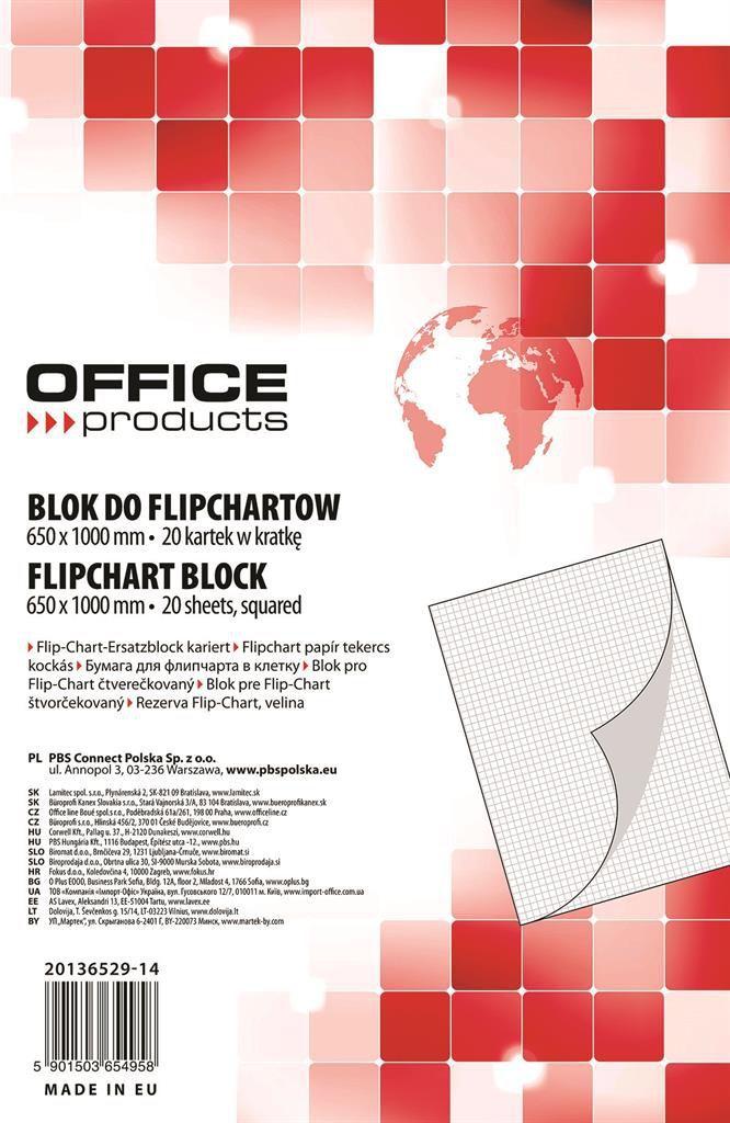 Office Products Blok do flipchartów, kratka, 65x100cm, 20 kartek, biały (5901503654958) 1