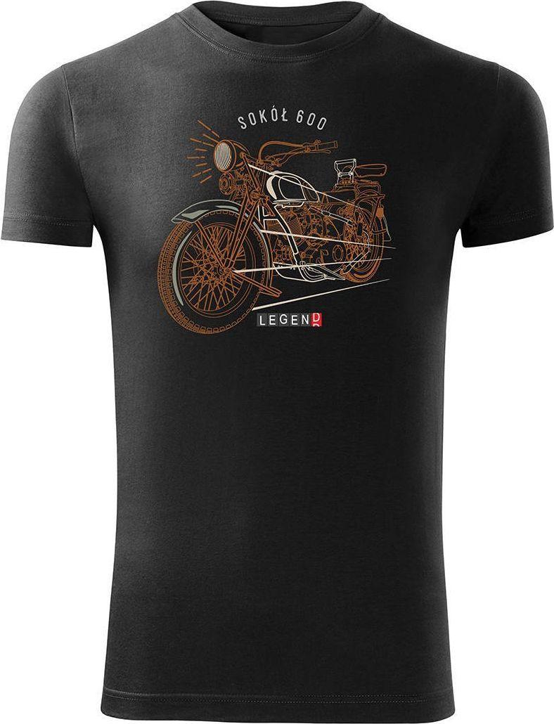 Topslang Koszulka motocyklowa na motor Sokół 600 męska czarna SLIM XXL 1