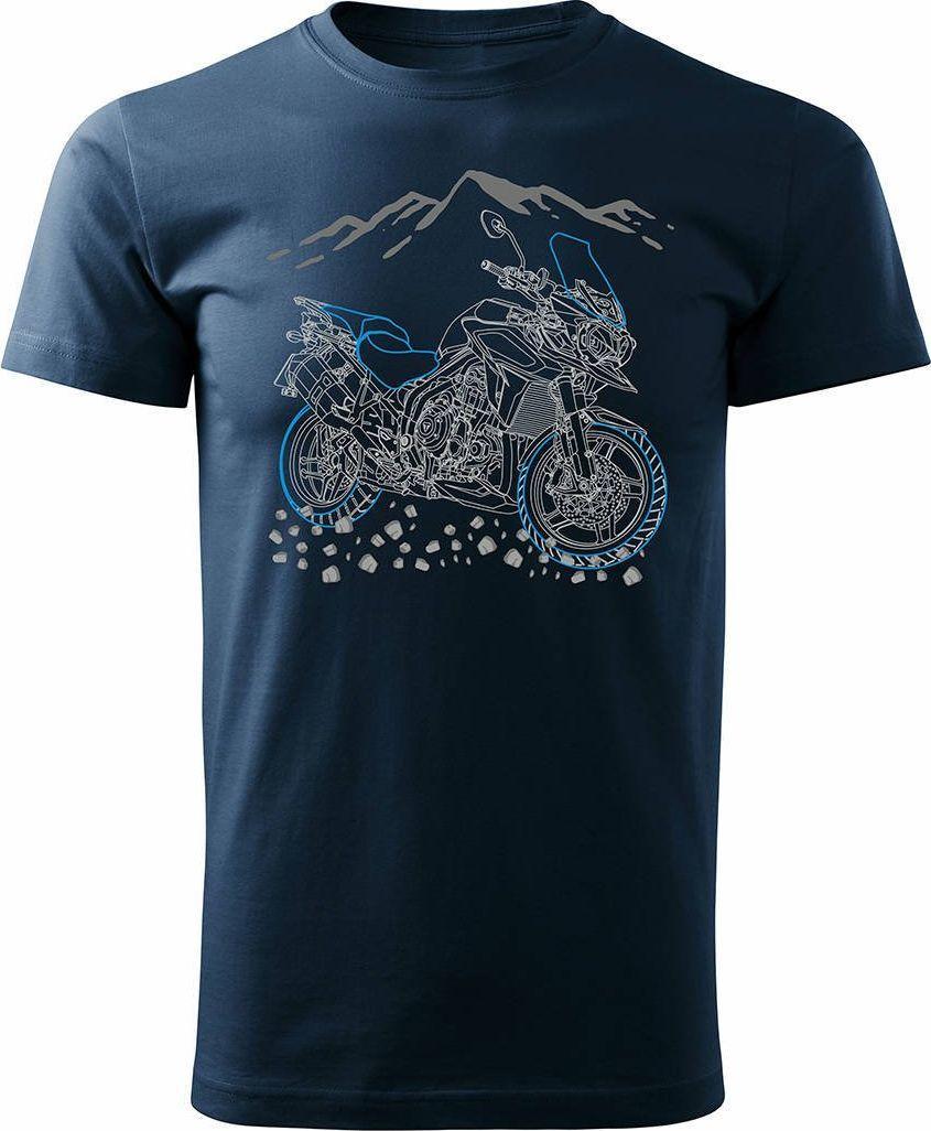 Topslang Koszulka motocyklowa z motocyklem na motor Triumph Tiger męska granatowa REGULAR XL 1