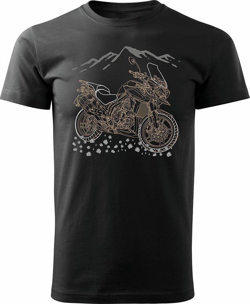 Topslang Koszulka motocyklowa z motocyklem na motor Triumph Tiger męska czarna REGULAR L 1