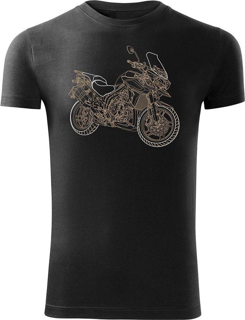 Topslang Koszulka motocyklowa z motocyklem na motor Triumph Tiger męska czarna SLIM M 1