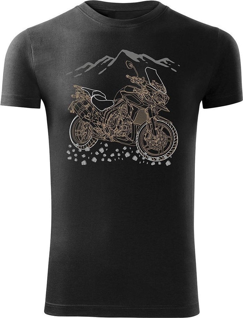 Topslang Koszulka motocyklowa z motocyklem na motor Triumph Tiger męska czarna SLIM XL 1