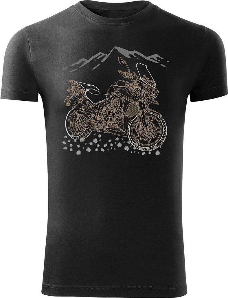 Topslang Koszulka motocyklowa z motocyklem na motor Triumph Tiger męska czarna SLIM XXL 1
