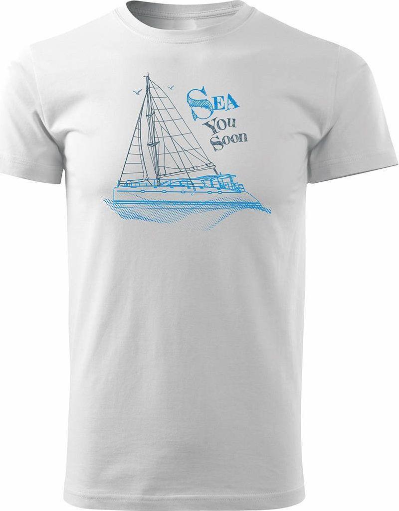 Topslang Koszulka żeglarska dla żeglarza z jachtem żaglówką męska biała REGULAR M 1
