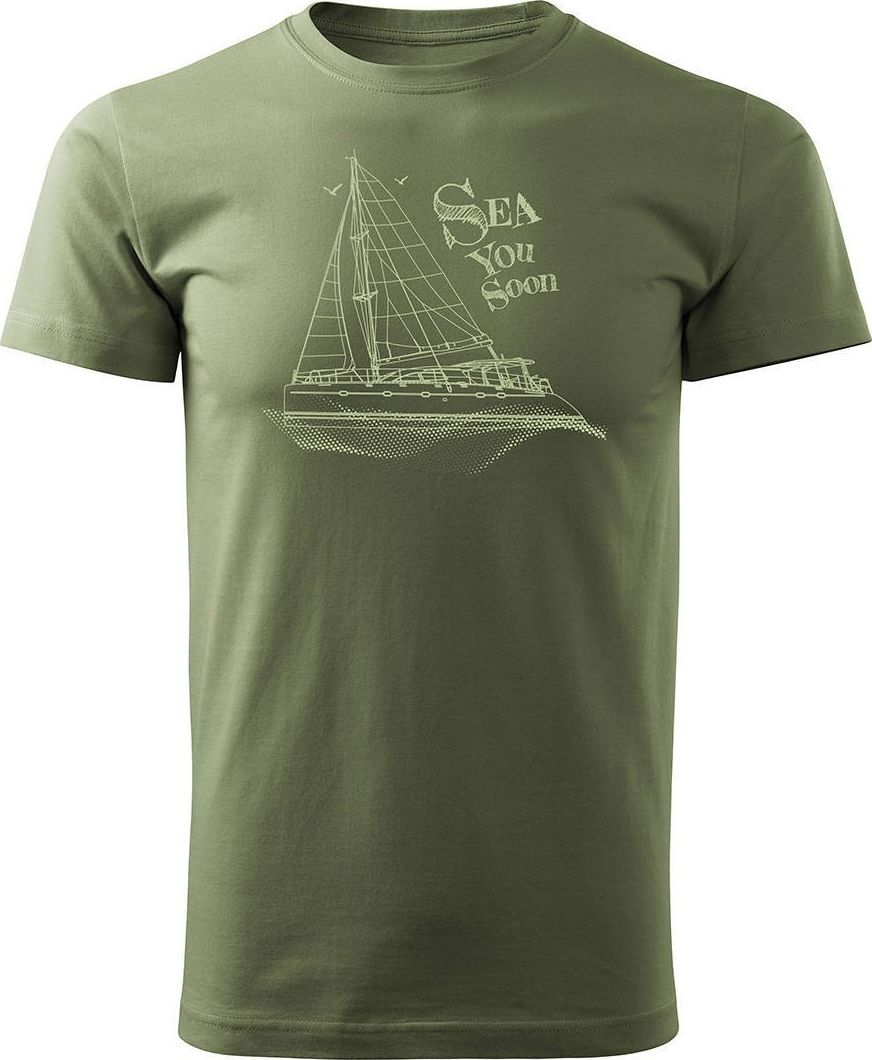 Topslang Koszulka żeglarska dla żeglarza z jachtem żaglówką męska khaki REGULAR XXL 1