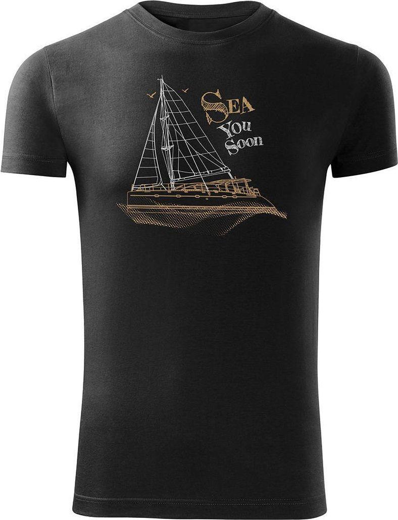Topslang Koszulka żeglarska dla żeglarza z jachtem żaglówką męska czarna SLIM L 1