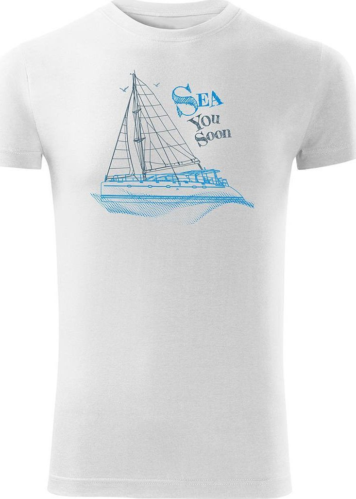 Topslang Koszulka żeglarska dla żeglarza z jachtem żaglówką męska biała SLIM M 1