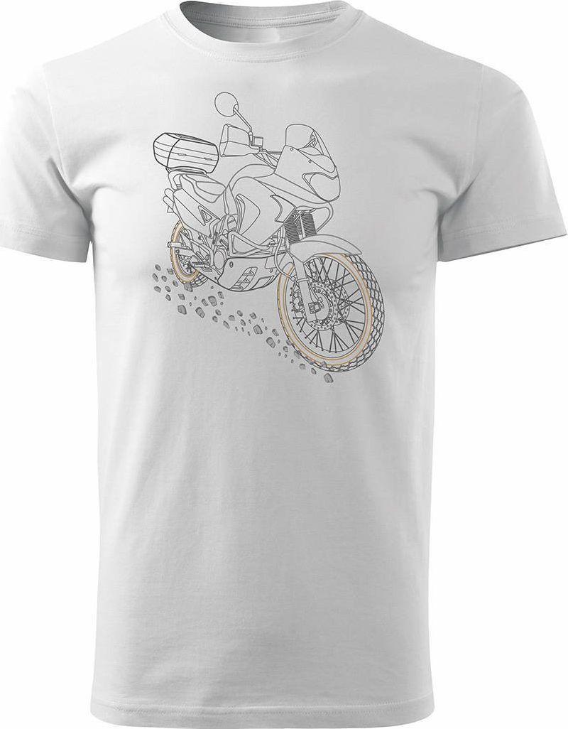 Topslang Koszulka motocyklowa z motocyklem Honda Transalp męska biała REGULAR XL 1