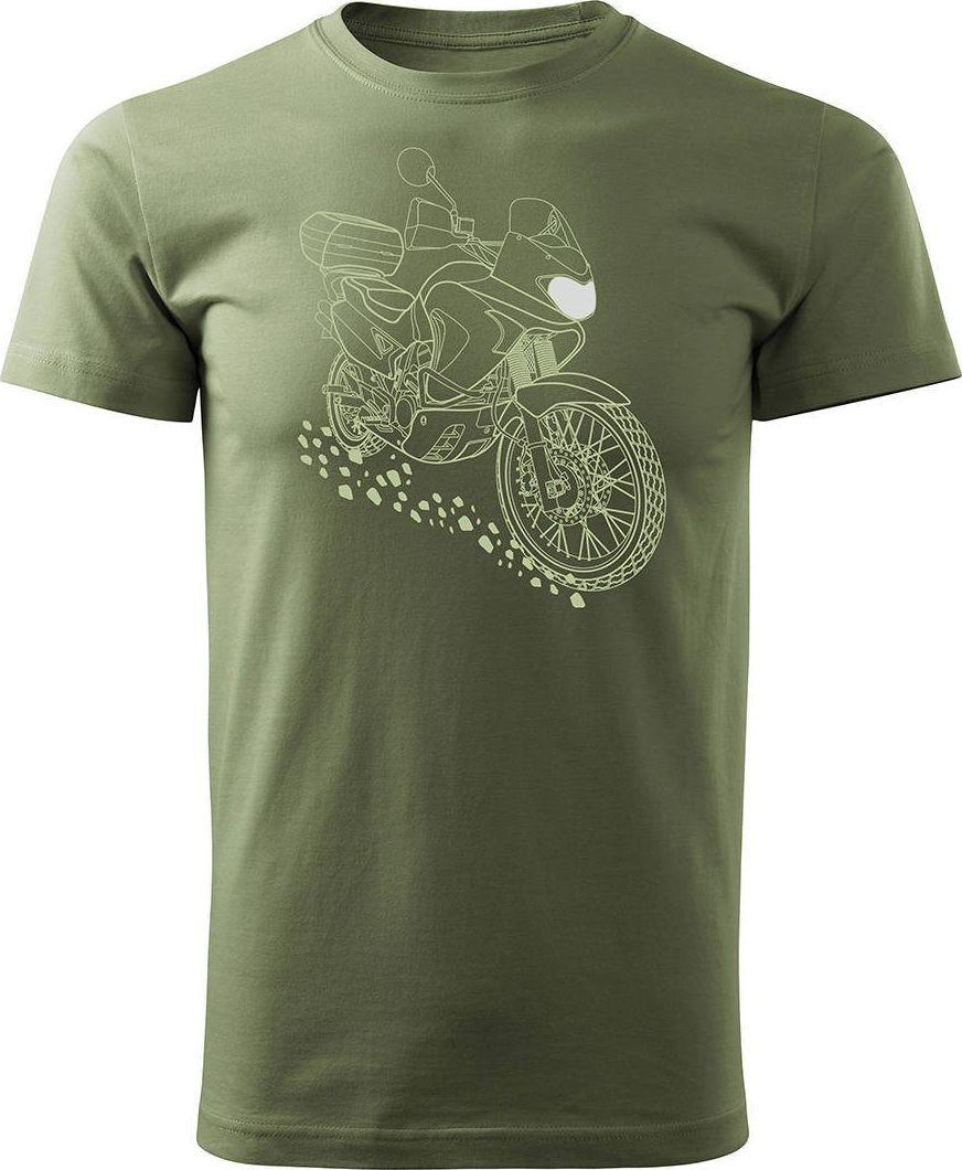 Topslang Koszulka motocyklowa z motocyklem Honda Transalp męska khaki REGULAR M 1