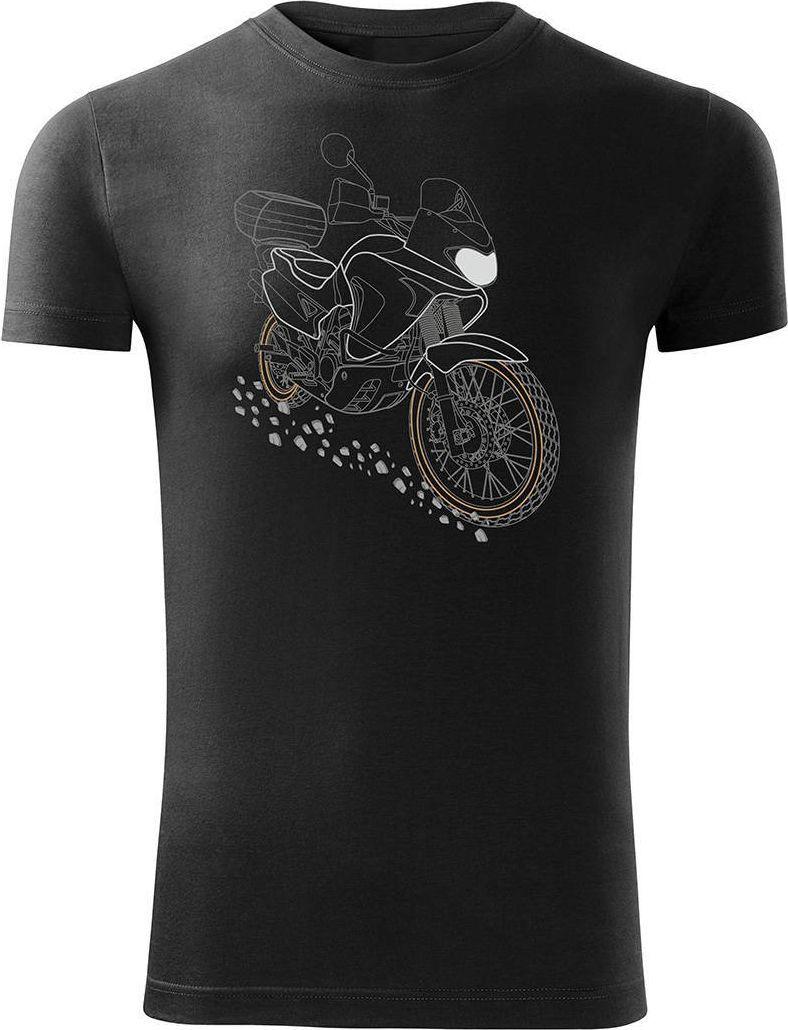 Topslang Koszulka motocyklowa z motocyklem Honda Transalp męska czarna SLIM M 1