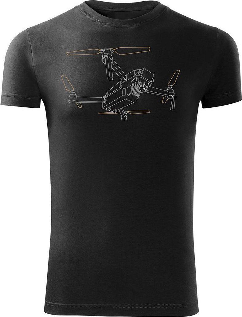 Topslang Koszulka z dronem dron drone quadrocopter męska czarna SLIM S 1