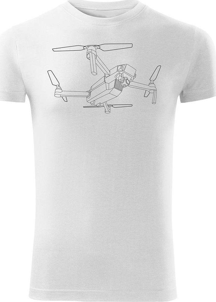 Topslang Koszulka z dronem dron drone quadrocopter męska biała SLIM L 1