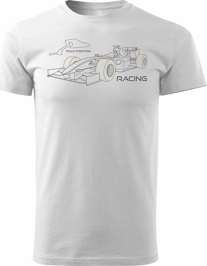 Topslang Koszulka z formułą 1 formuła 1 F1 bolidem formuły męska biała REGULAR S 1