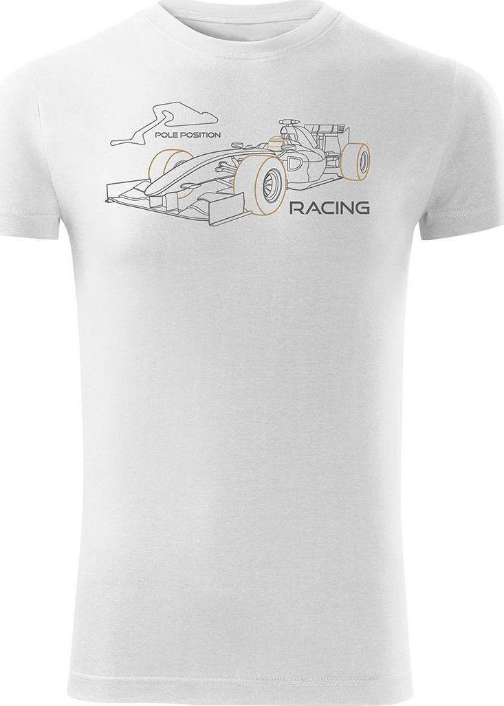 Topslang Koszulka z formułą 1 formuła 1 F1 bolidem formuły męska biała SLIM XL 1