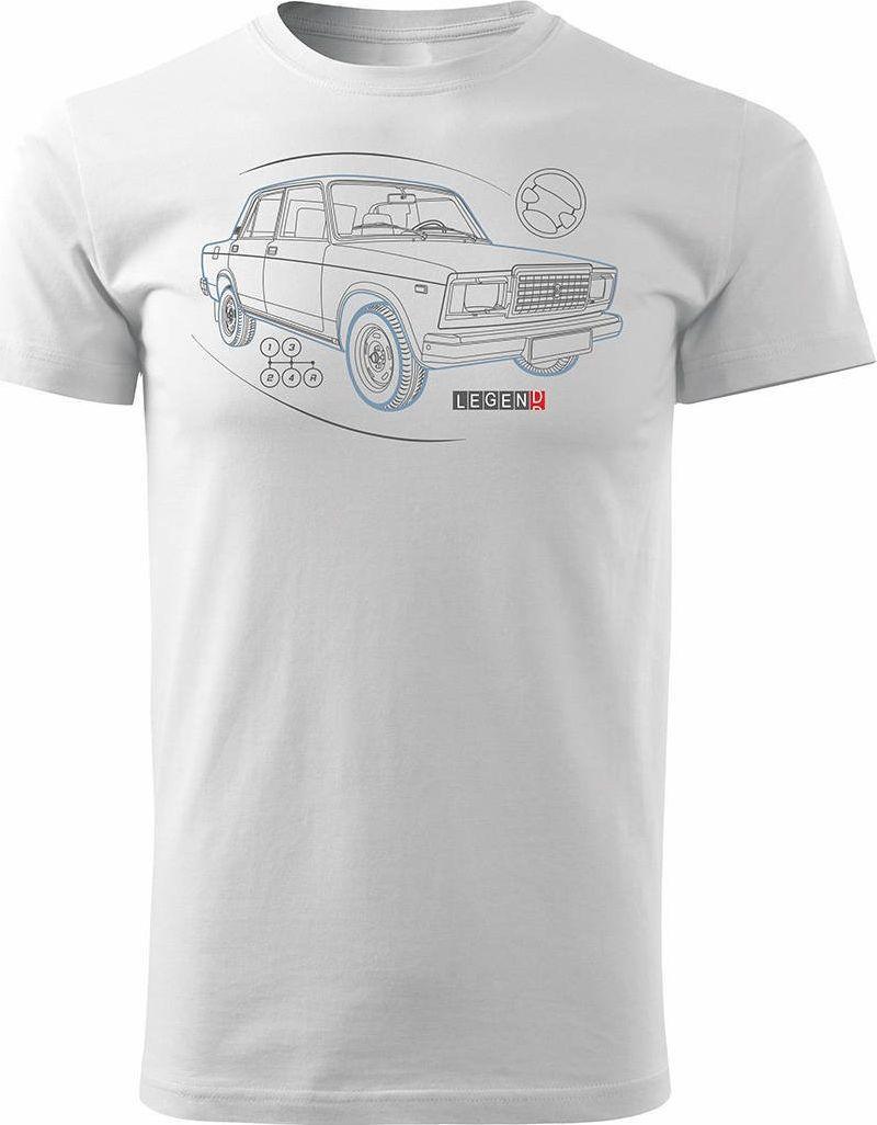 Topslang Koszulka z Ładą Łada Lada auto PRL legenda 2107 męska biała REGULAR S 1