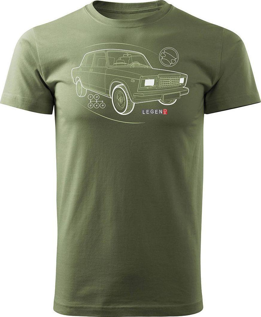Topslang Koszulka z Ładą Łada Lada auto PRL legenda 2107 męska khaki REGULAR S 1