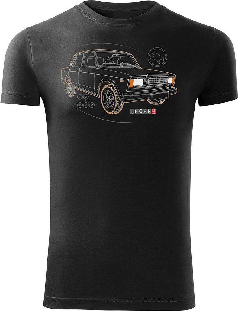 Topslang Koszulka z Ładą Łada Lada auto PRL legenda 2107 męska czarna SLIM S 1