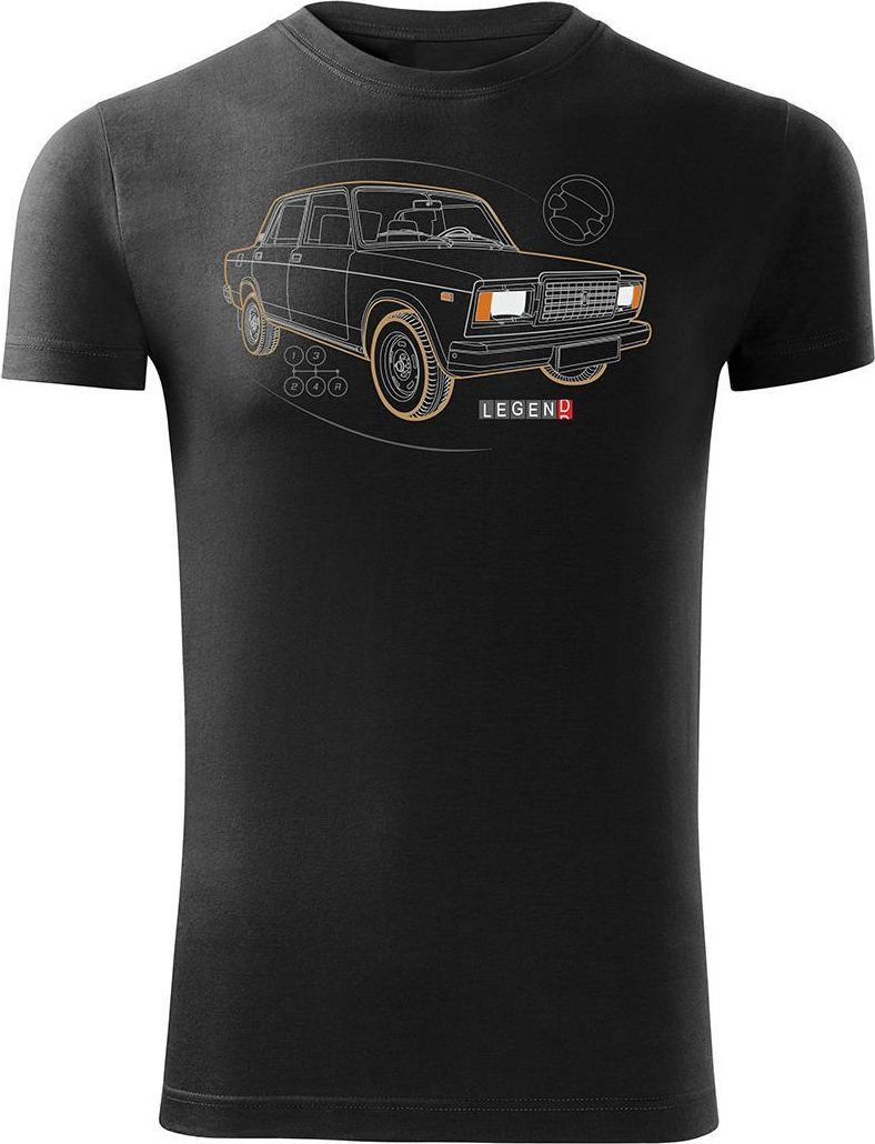 Topslang Koszulka z Ładą Łada Lada auto PRL legenda 2107 męska czarna SLIM L 1