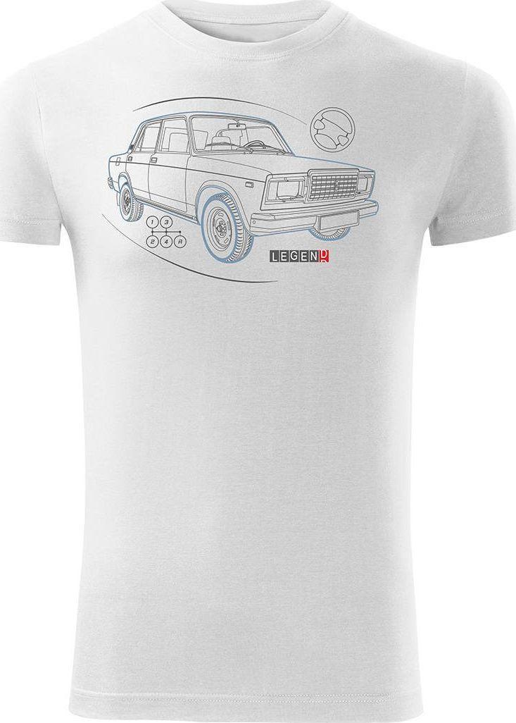 Topslang Koszulka z Ładą Łada Lada auto PRL legenda 2107 męska biała SLIM S 1
