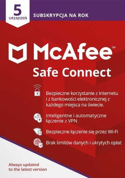 McAfee Safe Connect Premium 5 urządzeń 12 miesięcy  (MSC0AQNR5RAAD) 1