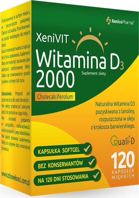 XENICOPHARMA Witamina D3 2000 Suplement Diety, 120 kapsułek miękkich - XeniVit 1