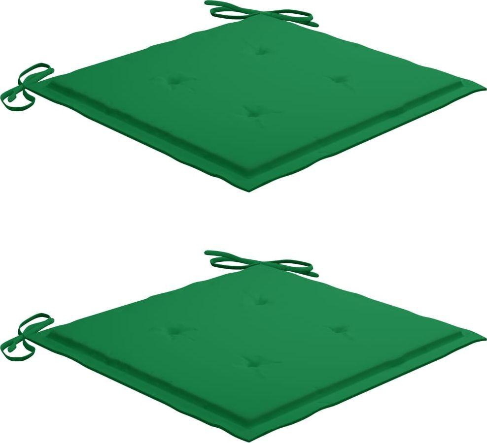 vidaXL Poduszki na krzesła ogrodowe 2 szt. zielone 40x40x4cm 1
